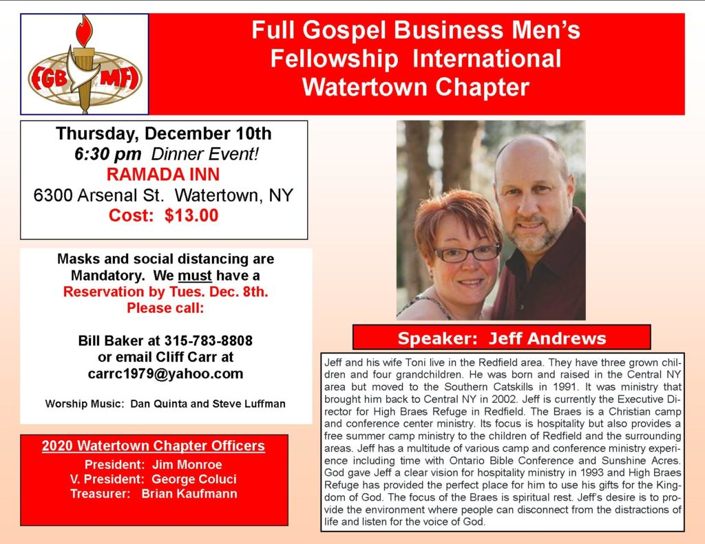 Speaker for December 2020 Dinner Event